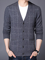 cheap -men's long sleeve wool cardigan - plaid v neck