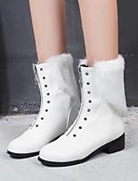 Недорогие -Жен. Fashion Boots Полиуретан Наступила зима Ботинки На низком каблуке Круглый носок Сапоги до середины икры Заклепки Белый / Черный / Желтый