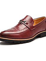 cheap -Men's Formal Shoes Faux Leather Fall & Winter Business Loafers & Slip-Ons Wear Proof Striped Black / Red / Party & Evening