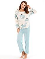 cheap -Women's Round Neck Suits Pajamas Patchwork