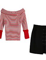 baratos -Mulheres Suéter Listrado Saia
