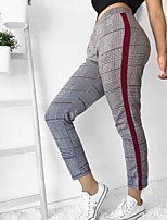 cheap -Women's Daily / Going out Sporty / Basic Legging - Color Block / Houndstooth Mid Waist