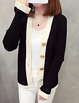 cheap -Women's Long Sleeve Cardigan - Striped / Geometric V Neck