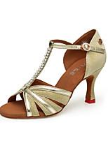 Недорогие -Жен. Обувь для латины Синтетика На каблуках Кубинский каблук Танцевальная обувь Черный / Серебряный / Розовый