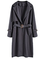 cheap -Women's Basic Trench Coat - Solid Colored