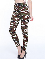 cheap -Women's Daily Basic Legging - Camouflage, Print Mid Waist / Fall
