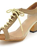 preiswerte -Damen Schuhe für den lateinamerikanischen Tanz Kunstleder / Kunststoff Absätze Starke Ferse Maßfertigung Tanzschuhe Schwarz / Braun