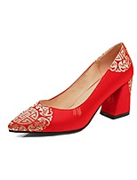 cheap -Women's Comfort Shoes Satin Spring & Summer Wedding Shoes Chunky Heel Red