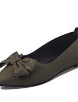 Недорогие -Жен. Обувь Полиуретан Весна лето Удобная обувь На плокой подошве На плоской подошве Заостренный носок Бант Черный / Зеленый / Темно-коричневый