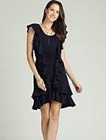 cheap -Suzanne Betro Women's Sophisticated / Elegant Sheath / Chiffon Dress - Solid Colored Peplum / Backless / Ruffle
