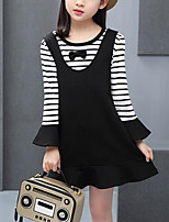 cheap -Kids Girls' Striped / Patchwork Long Sleeve Dress