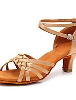 cheap -Women's Latin Shoes Satin Sandal / Heel Buckle Cuban Heel Customizable Dance Shoes Beige