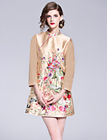 cheap -8CFAMILY Women's Vintage / Chinoiserie A Line Dress - Floral Embroidered