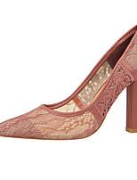 Недорогие -Жен. Комфортная обувь Полиуретан Лето Обувь на каблуках На толстом каблуке Черный / Красный / Розовый
