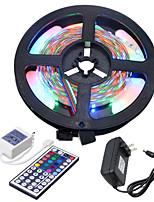 Недорогие -HKV 5 метров Гибкие светодиодные ленты / Наборы ламп 300 светодиоды 3528 SMD 1 пульт дистанционного управления 44Keys / 1 адаптер питания x 2A RGB Можно резать / Компонуемый / Самоклеющиеся 100-240 V