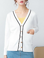 cheap -women's long sleeve cardigan - solid colored v neck
