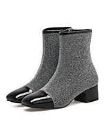 Недорогие -Жен. Армейские ботинки Синтетика Наступила зима Ботинки На толстом каблуке Черный / Серый