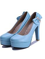 Недорогие -Жен. Обувь Полиуретан Осень Туфли лодочки Обувь на каблуках На толстом каблуке Белый / Синий / Розовый