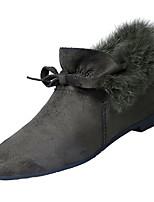 Недорогие -Жен. Fashion Boots Замша Осень На каждый день Ботинки На плоской подошве Ботинки Бант Черный / Коричневый / Военно-зеленный