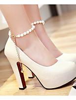 baratos -Mulheres Sapatos Confortáveis Couro Ecológico Primavera & Outono Saltos Salto Agulha Branco / Bege / Rosa claro