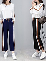 cheap -Women's Patchwork Tracksuit - Black, Navy Sports Stripe High Rise Pants / Trousers / Top Dance, Fitness, Gym Long Sleeve Activewear Breathable, Comfortable Micro-elastic