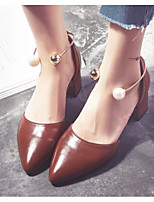 baratos -Mulheres Sapatos Confortáveis Couro Ecológico Primavera & Outono Saltos Salto Robusto Preto / Marron / Amêndoa