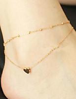 Недорогие -Многослойность лодыжке браслет - Сердце, Везучий Классический, Мода Золотой Назначение Повседневные Школа Жен.