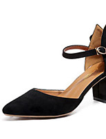 Недорогие -Жен. Балетки Полиуретан Весна & осень Обувь на каблуках На толстом каблуке Черный / Миндальный