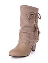 Недорогие -Жен. Fashion Boots Искусственная кожа Зима Милая Ботинки На толстом каблуке Круглый носок Сапоги до середины икры С кисточками Черный / Миндальный