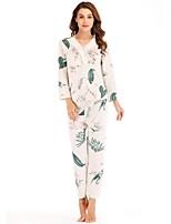 cheap -Women's Deep V Suits Pajamas Floral
