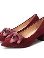 Недорогие -Жен. Полиуретан Лето Туфли лодочки Обувь на каблуках На толстом каблуке Бант Черный / Винный / Миндальный