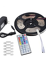 cheap -HKV 5m Flexible LED Light Strips 300 LEDs 3528 SMD 1 44Keys Remote Controller / 1 x 2A power adapter RGB Waterproof / Cuttable / Linkable 100-240 V