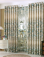 cheap -Curtains Drapes Living Room Floral Poly / Cotton Blend Printed & Jacquard