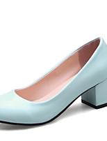 baratos -Mulheres Sapatos Confortáveis Microfibra Primavera Saltos Salto Robusto Preto / Azul / Rosa claro