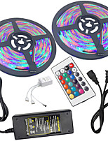 cheap -HKV 2x5M Light Sets / RGB Strip Lights 300 LEDs 3528 SMD 1 24Keys Remote Controller / 1 X 5A power adapter RGB Waterproof / Cuttable / Linkable 100-240 V