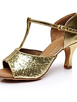 cheap -Women's Latin Shoes Patent Leather Sandal / Heel Splicing Cuban Heel Customizable Dance Shoes Gold