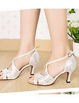 cheap -Women's Latin Shoes PU(Polyurethane) Heel Slim High Heel Dance Shoes Silver