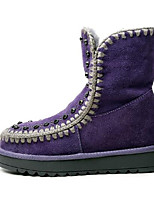 cheap -Women's Shoes Suede Fall & Winter Comfort Boots Flat Heel Closed Toe Mid-Calf Boots Black / Purple