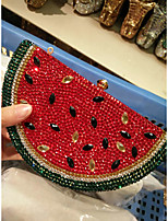 cheap -Women's Bags Alloy Evening Bag Crystals Red