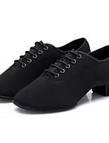 cheap -Women's Latin Shoes Canvas Oxford Splicing Cuban Heel Customizable Dance Shoes Black