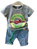 Недорогие -Дети (1-4 лет) Мальчики Однотонный С короткими рукавами Набор одежды