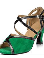 Недорогие -Жен. Обувь для латины Замша На каблуках Тонкий высокий каблук Танцевальная обувь Зеленый / Синий
