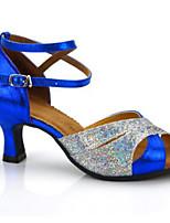 baratos -Mulheres Sapatos de Dança Latina Pele Salto Salto Alto Magro Sapatos de Dança Dourado / Prata / Azul