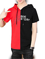 cheap -Men's Short Sleeve Hoodie - Color Block Hooded
