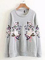 cheap -women's long sleeve sweatshirt - floral round neck