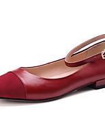baratos -Mulheres Sapatos Confortáveis Pele Napa Primavera Saltos Sem Salto Preto / Roxo / Vinho
