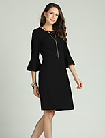 cheap -Suzanne Betro Women's Basic / Elegant Flare Sleeve Shift Dress - Solid Colored Lace