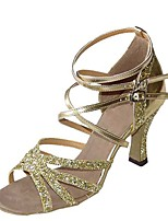 cheap -Women's Latin Shoes Satin Sandal / Heel Flared Heel Customizable Dance Shoes Gold / Black / Silver