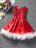 Недорогие -Дети Дети (1-4 лет) Девочки Активный Милая Дед Мороз Однотонный Пайетки Без рукавов До колена Платье Красный