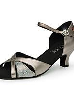 Недорогие -Жен. Обувь для латины / Обувь для модерна Синтетика Сандалии Блеск Кубинский каблук Персонализируемая Танцевальная обувь Бронзовый / Серебряный